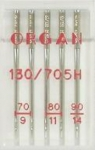 Иглы Organ стандартные № 70(2),80(2),90, 5 шт.