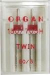 Иглы Organ двойные стандартные № 90/3.0, 2 шт.